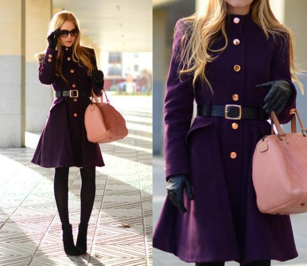 How to Combine a Purple Coat - Sophisticated look with purple coat